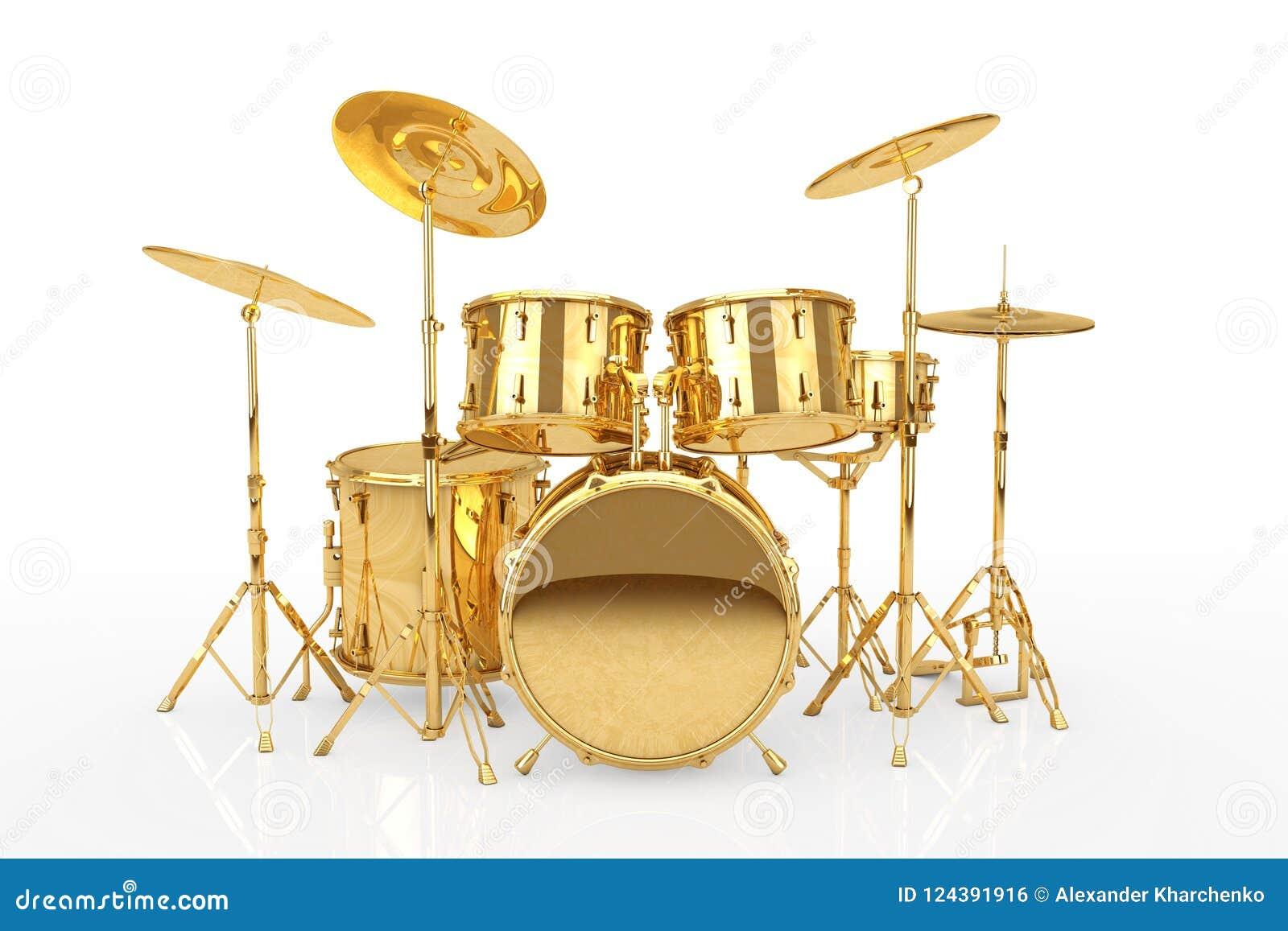 Professional Rock Golden Drum Kit. 3d Rendering Stock Illustration ...
