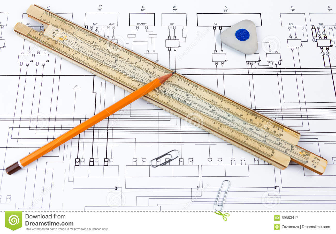 Professional scale ruler pencil and eraser on the blueprint stock download comp malvernweather Image collections