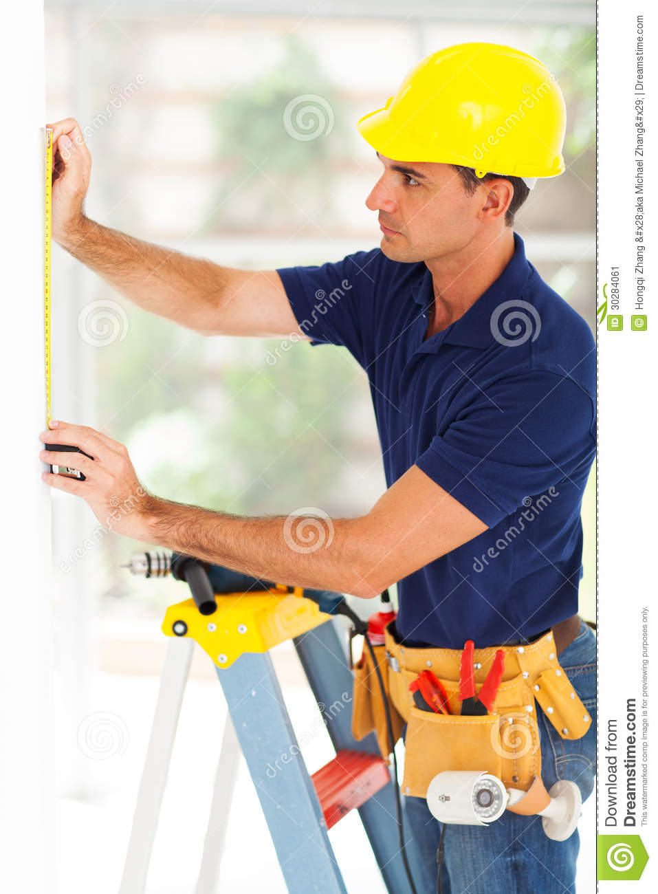security system installer stock image image  security system installer