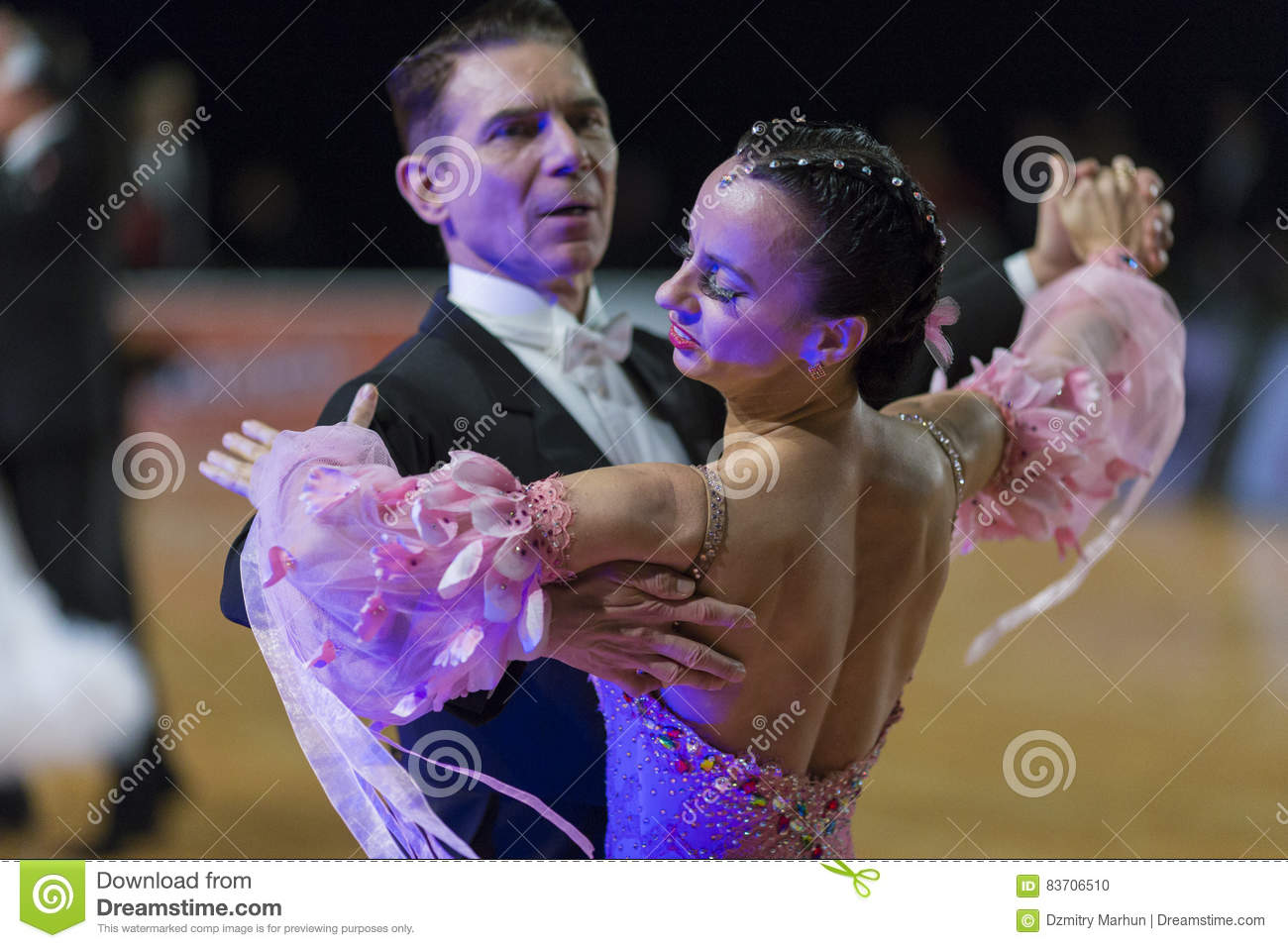 Professional Senior Dance Couple Performs European Standard Program On The WDSF Baltic Grand Prix-2106 Championship Editorial Image
