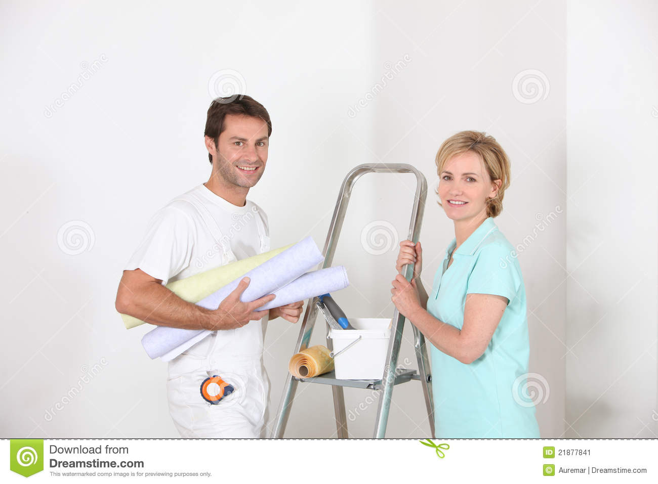 professional smiling decorator stock image image 21877841