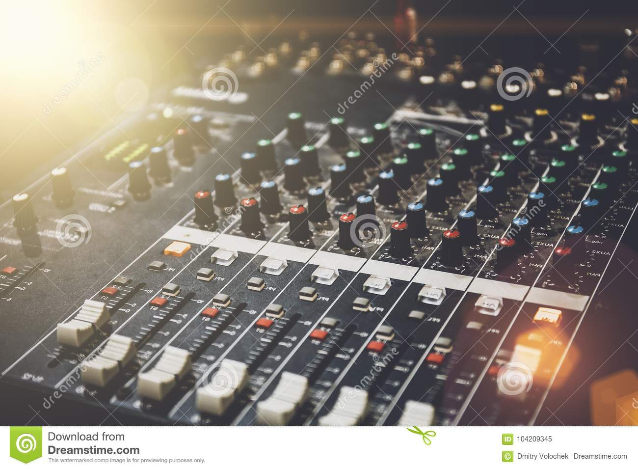professional sound mixer in studio for music and sound recording equipment stock image image. Black Bedroom Furniture Sets. Home Design Ideas