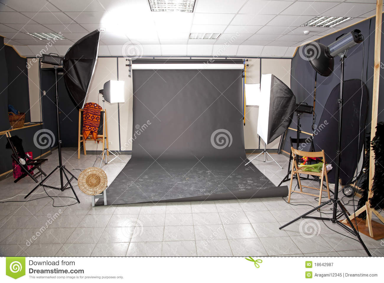 Professional Studio Interior With Black Background Royalty