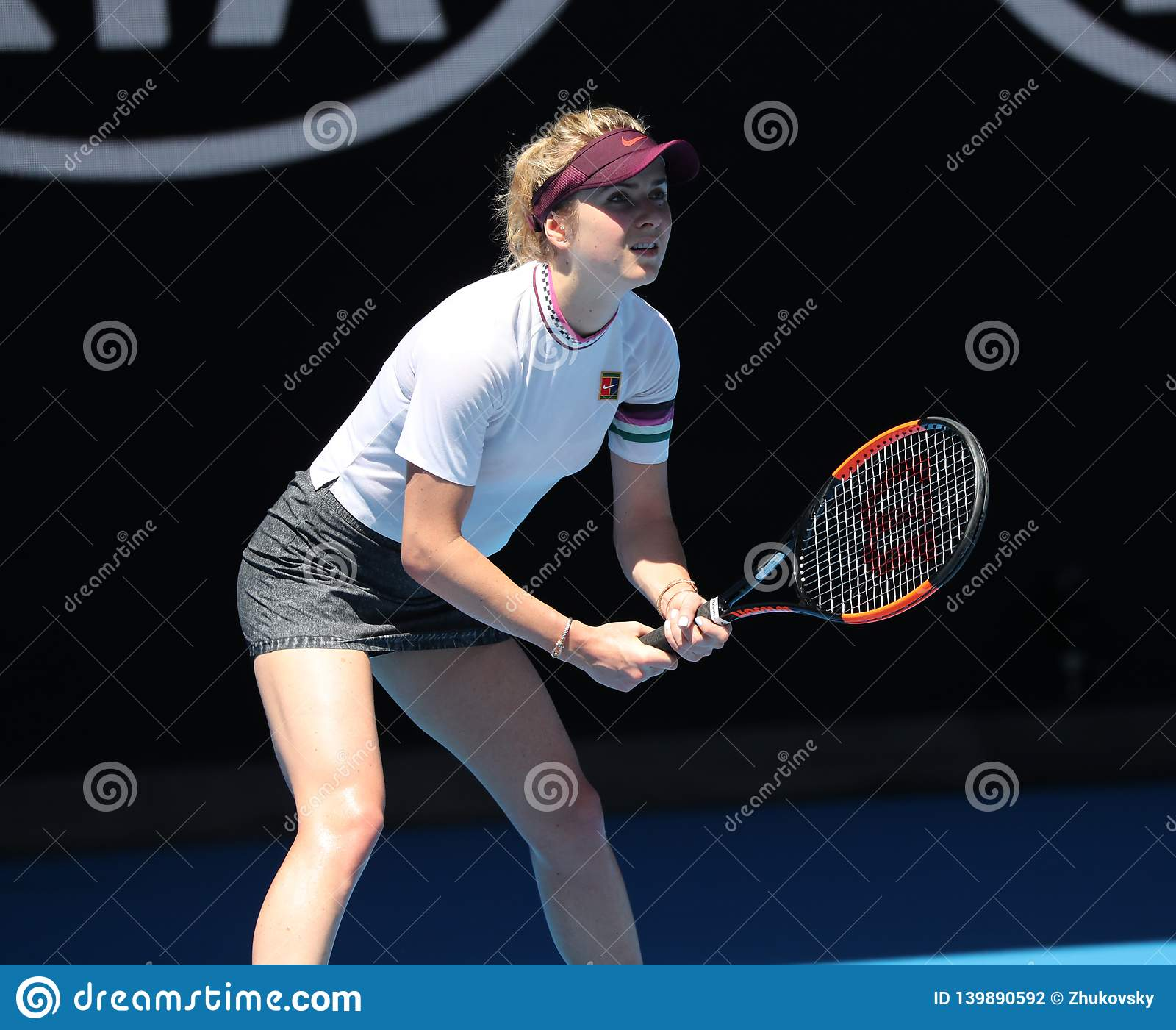 Professional tennis player Elina Svitolina of Ukraine in action during her quarterfinal match at 2019 Australian Open in Melbourne