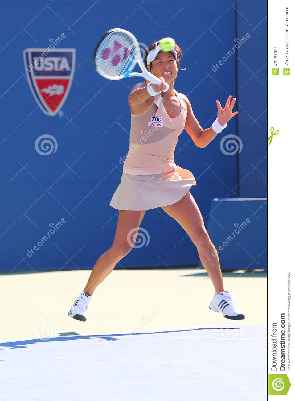 Professional tennis player Kimiko Date-Krumm during first round match at US Open 2014
