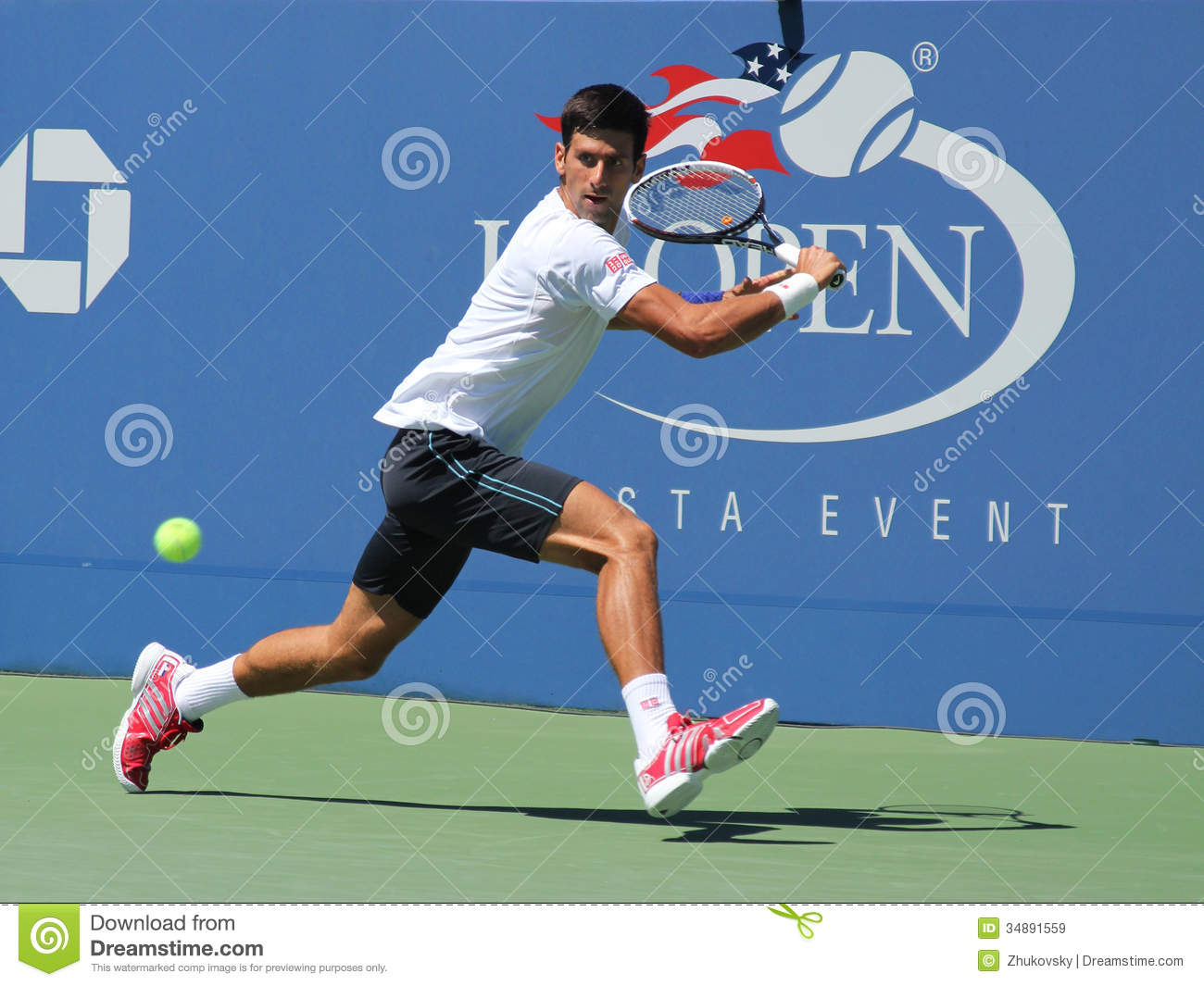 Professional tennis player Novak Djokovic practices for US Open 2013 ...