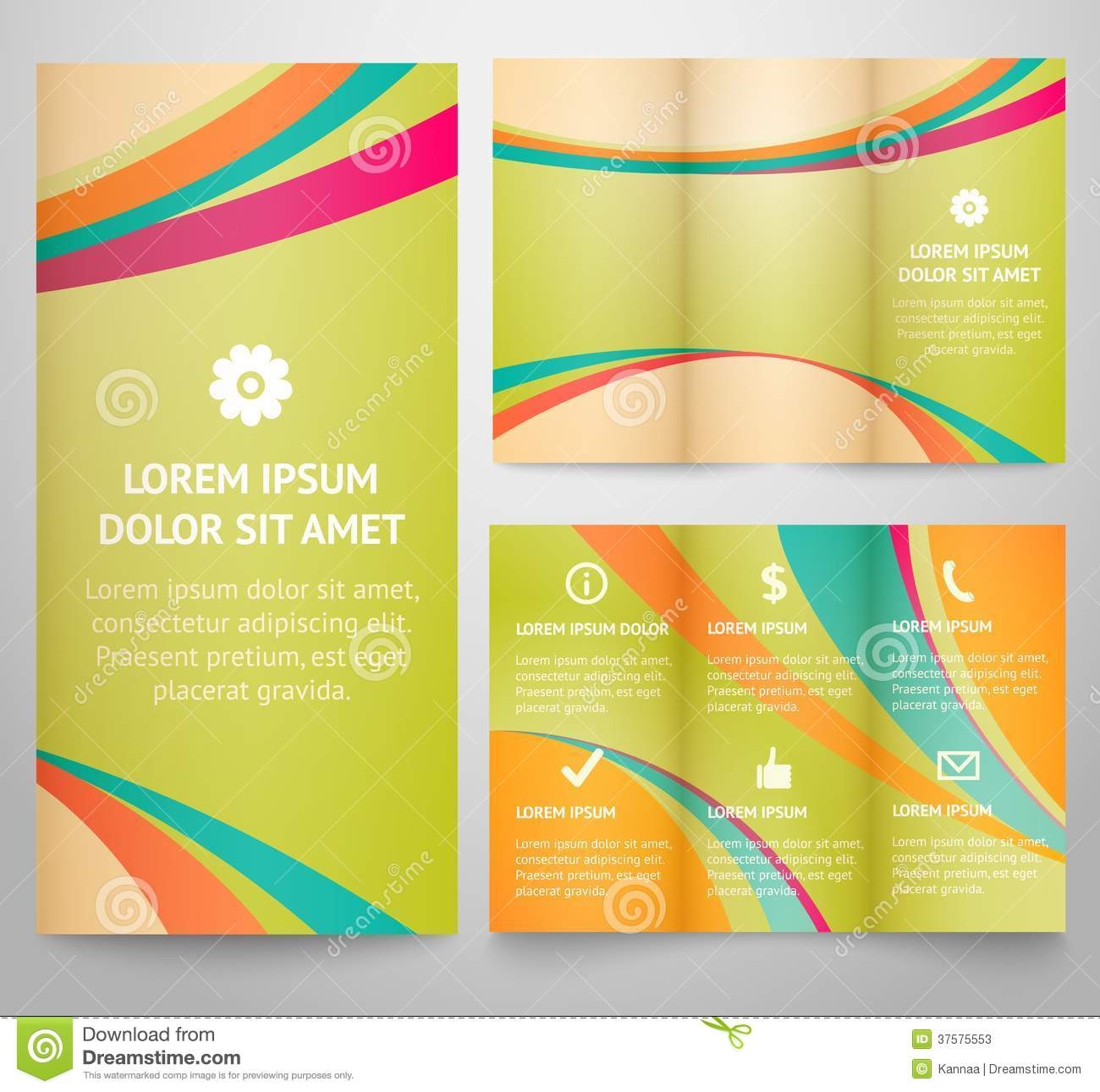 professional three fold business flyer template stock