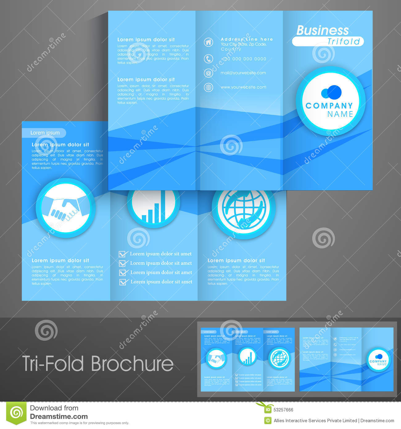 Professional trifold brochure template or flyer for for Tri fold business brochure template