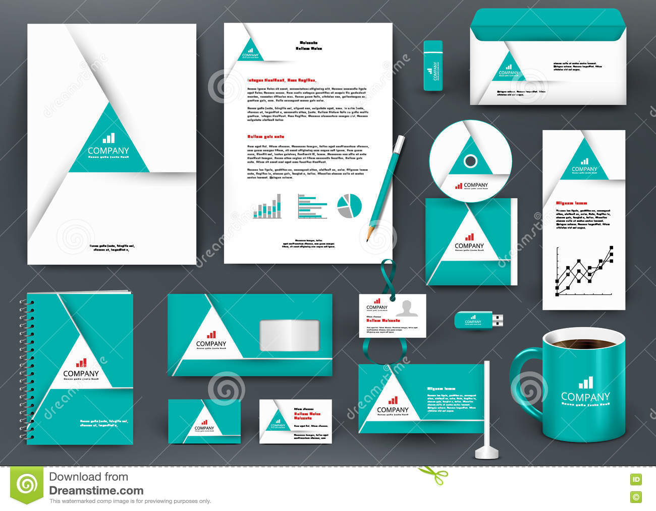 Professional Universal Green Branding Design Kit With Triangle Origami  Element.  Professional Business Profile Template