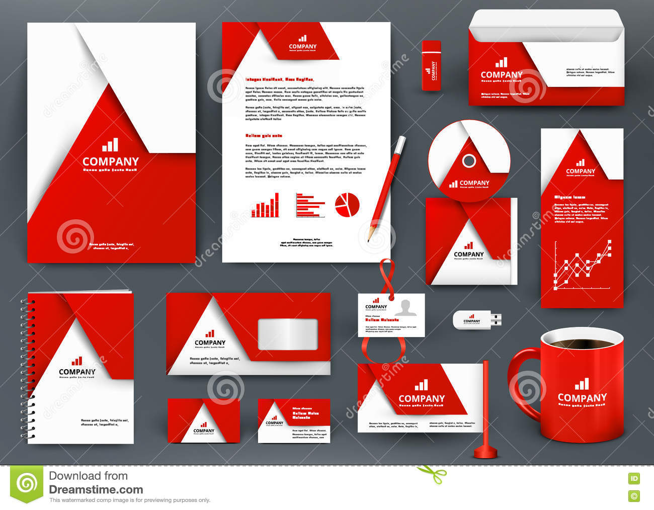 professional universal red branding design kit with origami element