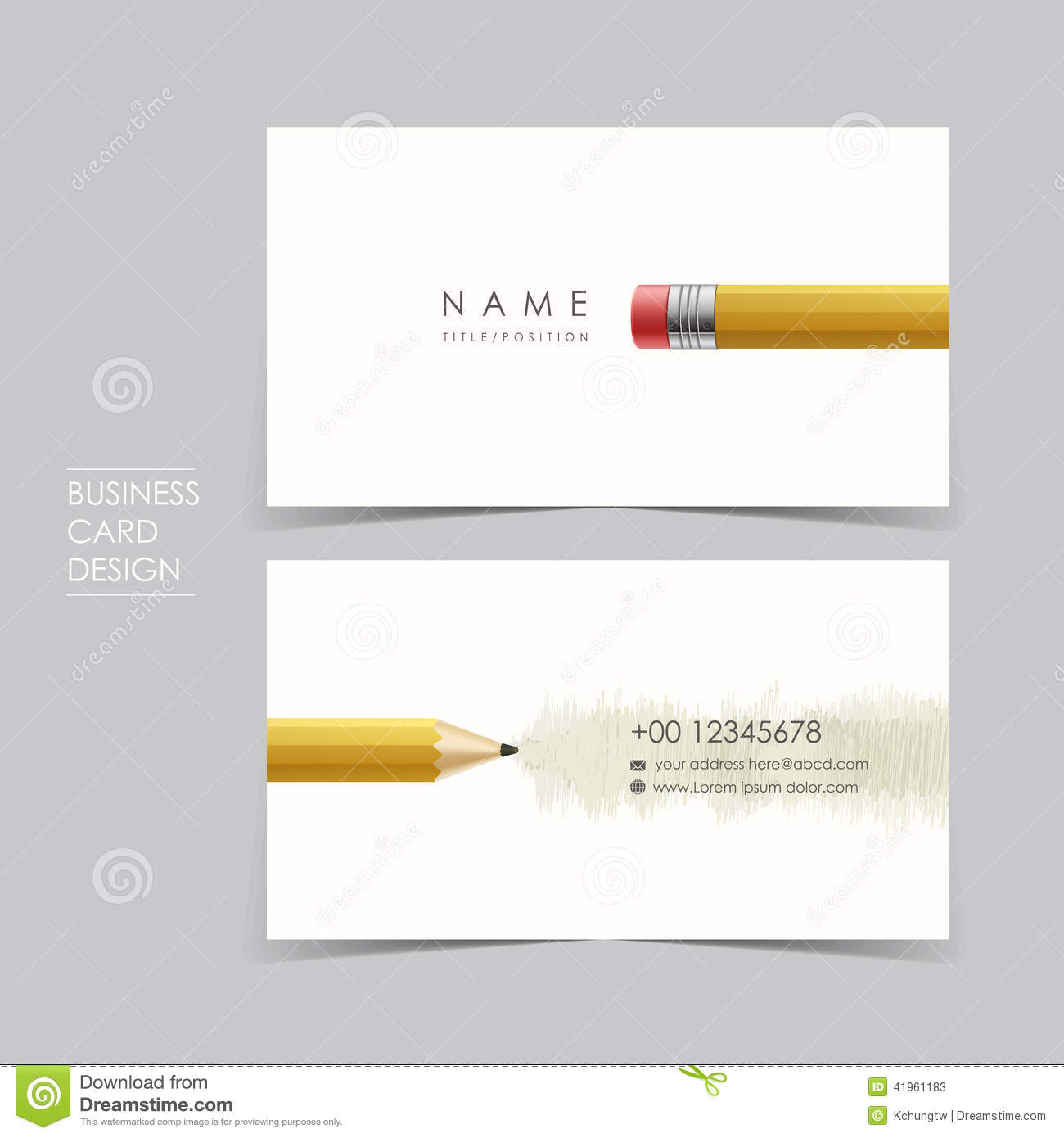 Professional vector business card set template design with pencil