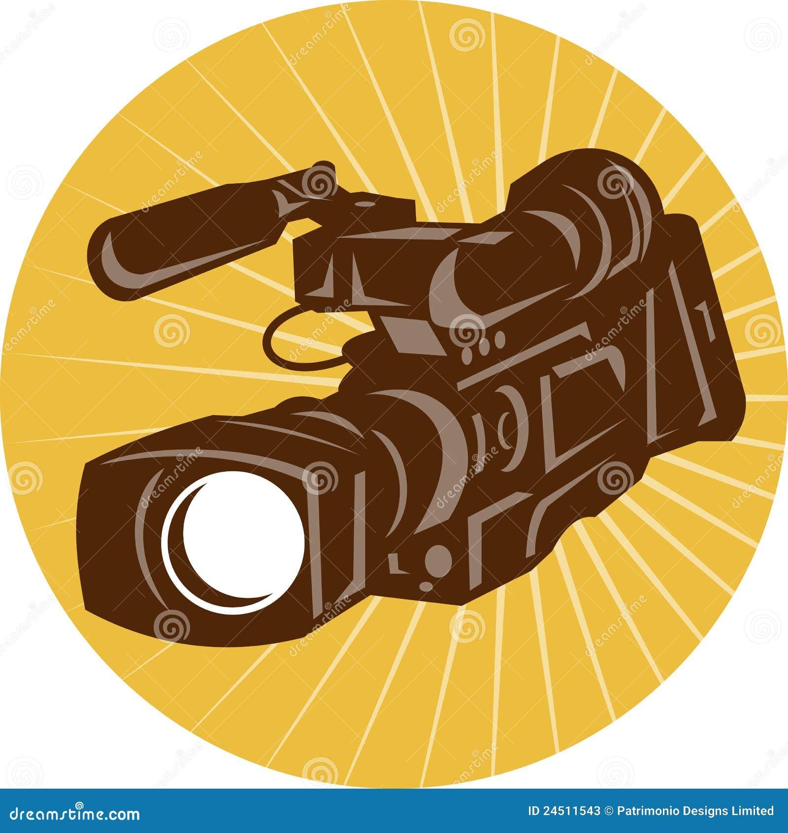 download professional video camera camcorder retro stock vector illustration of movie circle 24511543