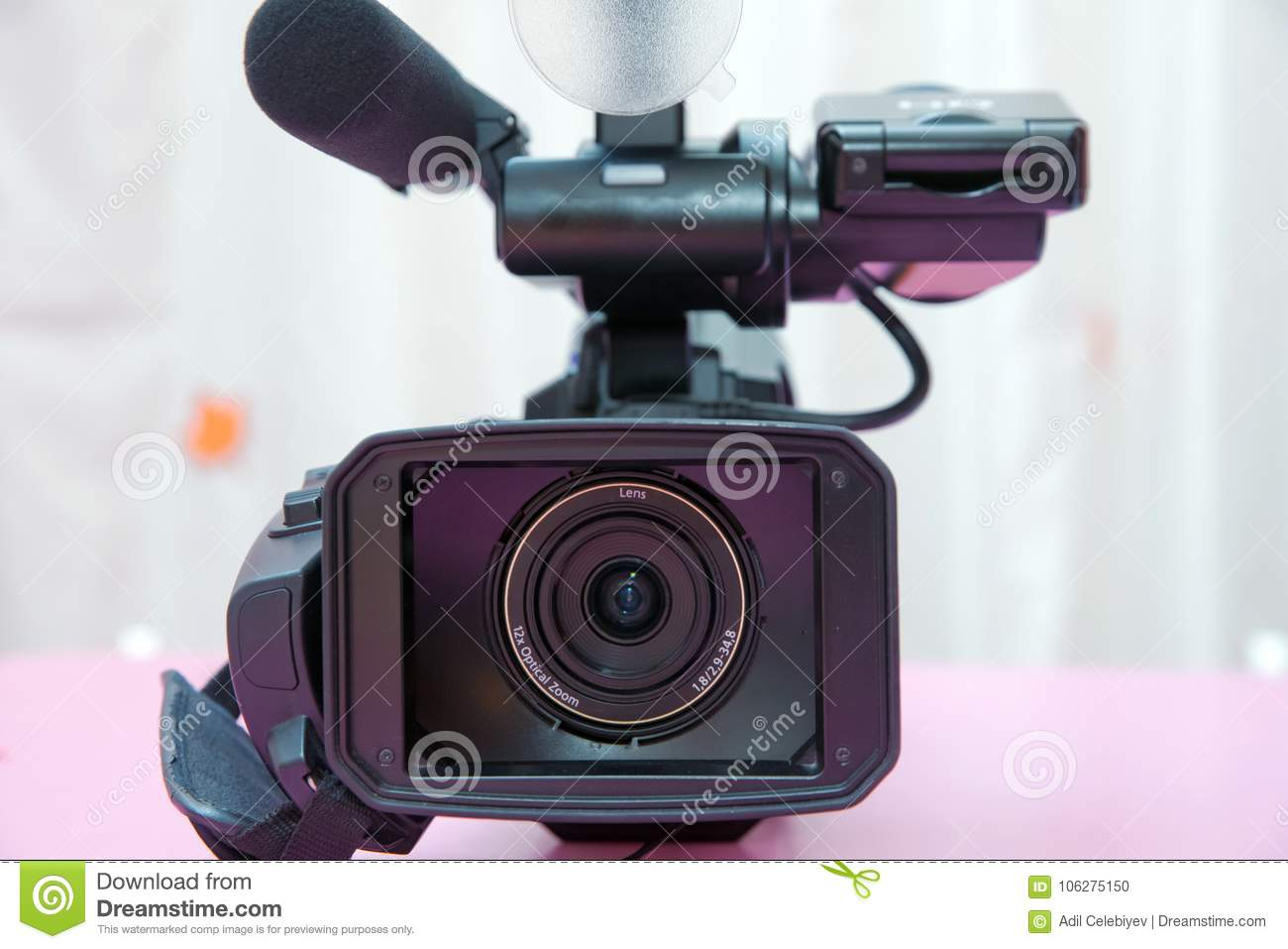 Professional Video Camera Isolated  Professional Full HD Camcorder