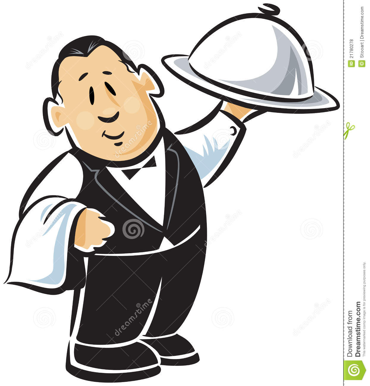 Professional waiter in vest and bow tie holding up a tray of covered ...