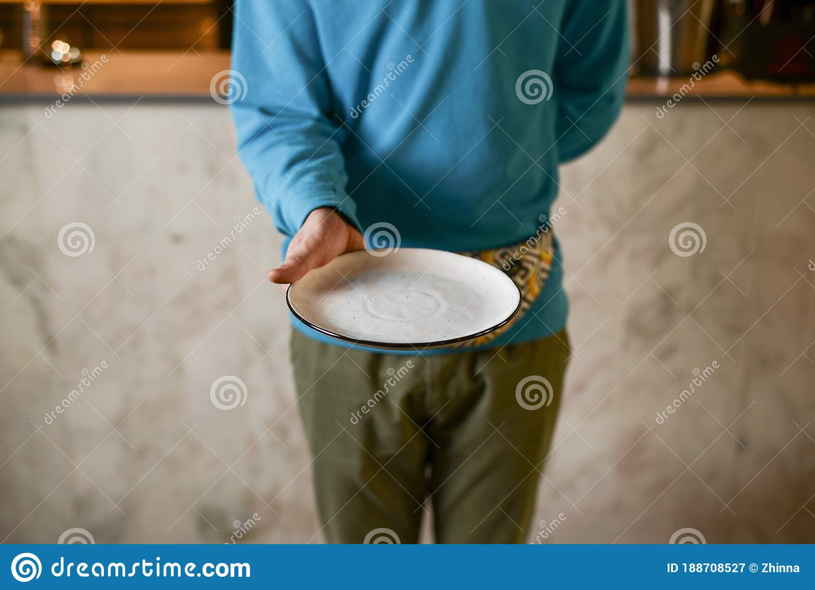 Professional Waiter With Blank Empty Plate In A Restaurant Restaurant Food Photography Concept Stock Image Image Of Dish Occasion 188708527