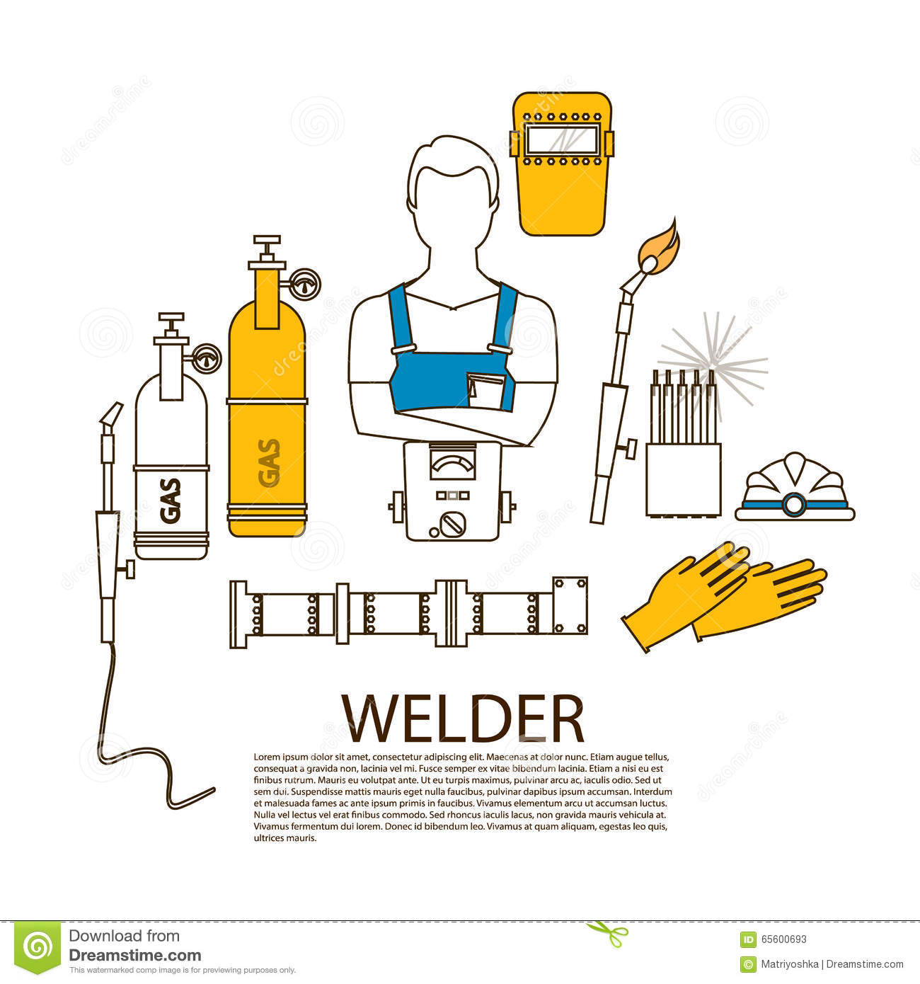 Professional Welder Welding Tools And Equipment Silhouette Stock Diagram