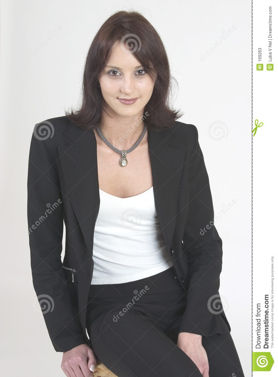 Professional woman facing forward in a relaxed position