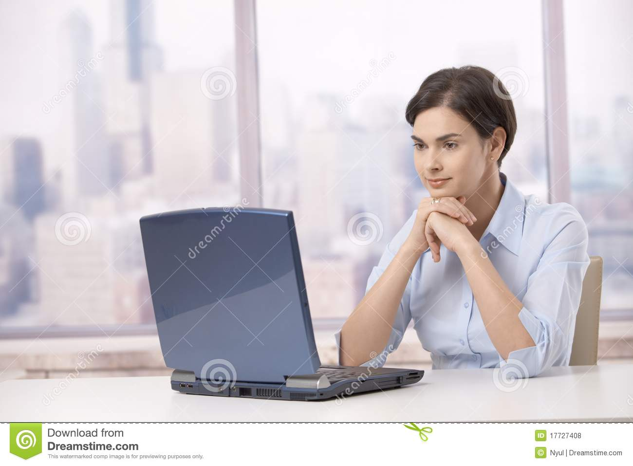 Professional Woman With Laptop Computer Royalty Free Stock