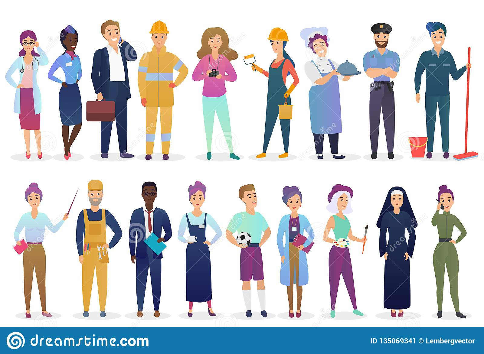 Professional Workers People Set Standing Together. Different Occupation  Employment and Teamwork Vector Illustration. Stock Vector - Illustration of  employers, occupation: 135069341