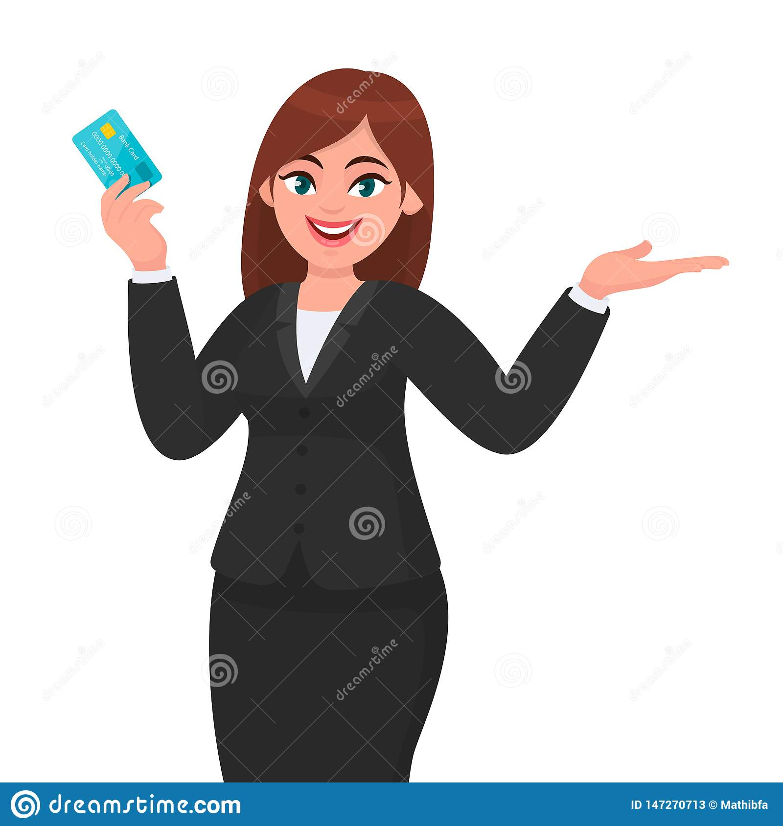 Professional Young Business Woman Showing/holding Credit ...
