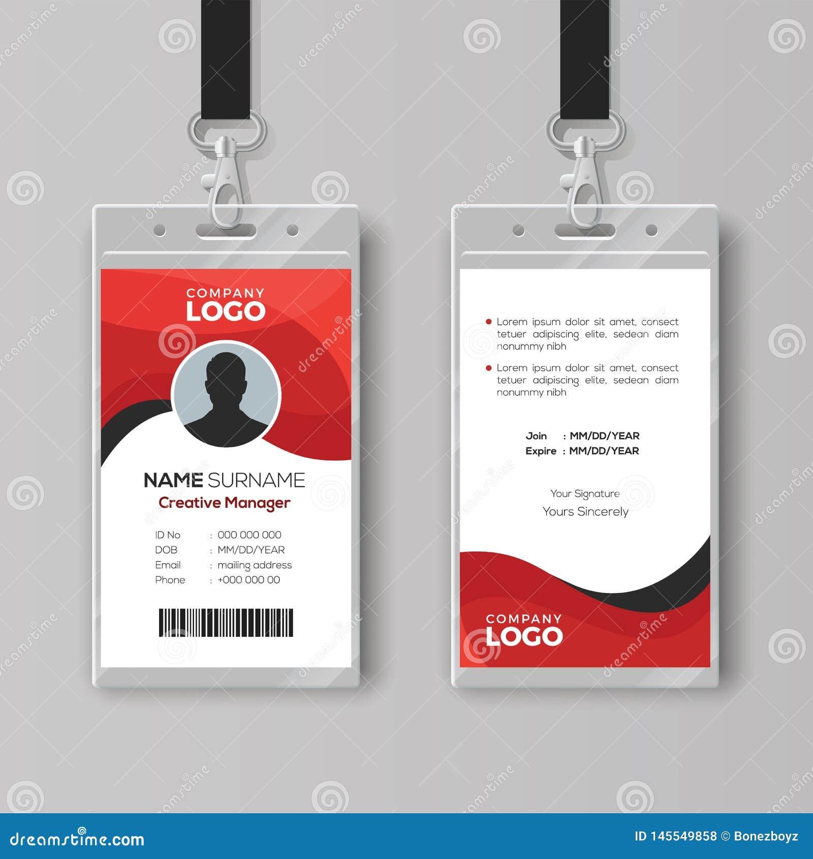 Professioneel identiteitskaartmalplaatje met rode details