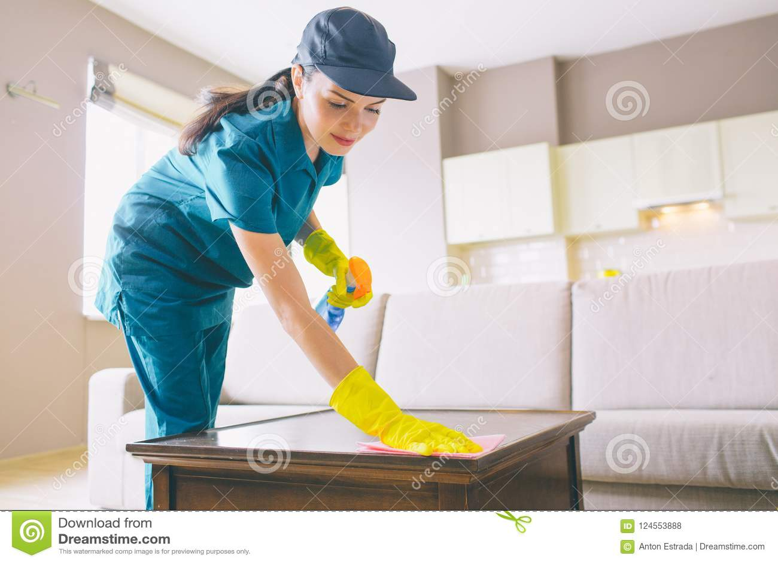Professionele schonere wahsing oppervlakte van lijst zij gebruikt vod en nevel Het meisje doet zorgvuldig het