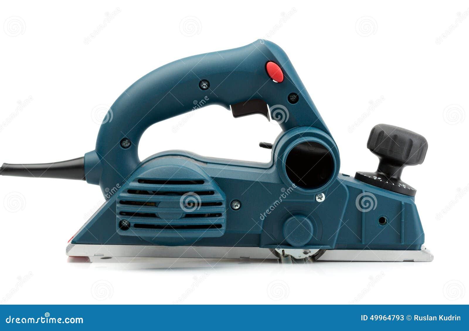 professioneller elektrischer hobel, seitenansicht stockbild - bild