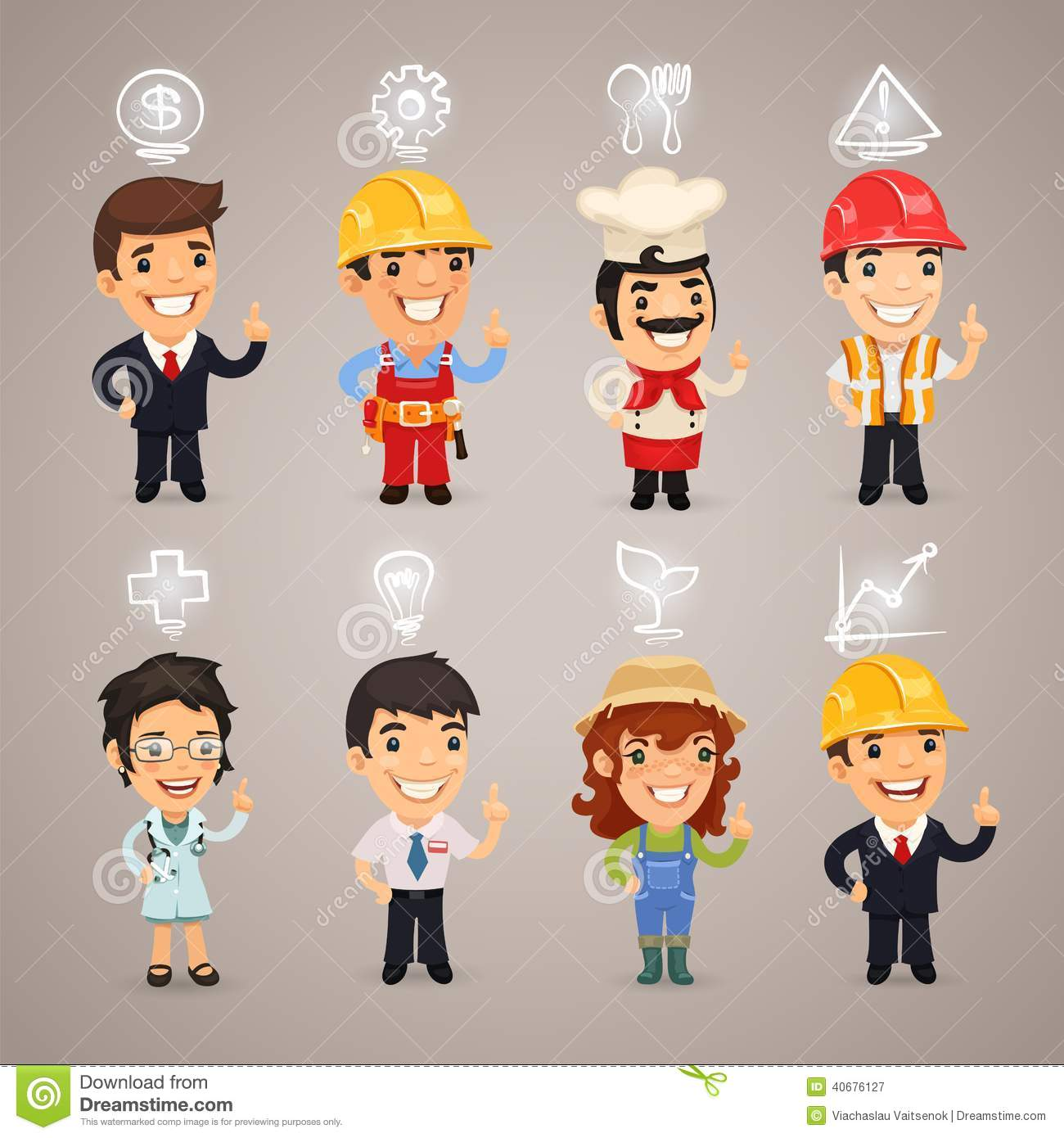 Professions Characters With    Icons    Stock Vector  Image