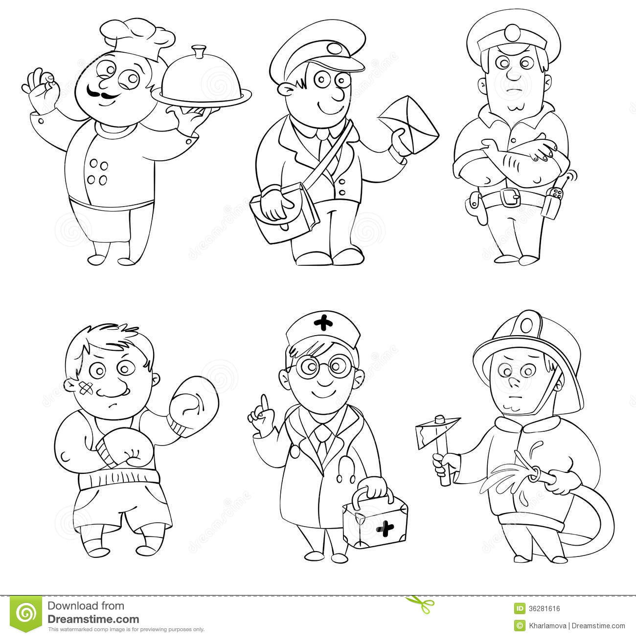 Professions Coloring Book Royalty Free Stock Image