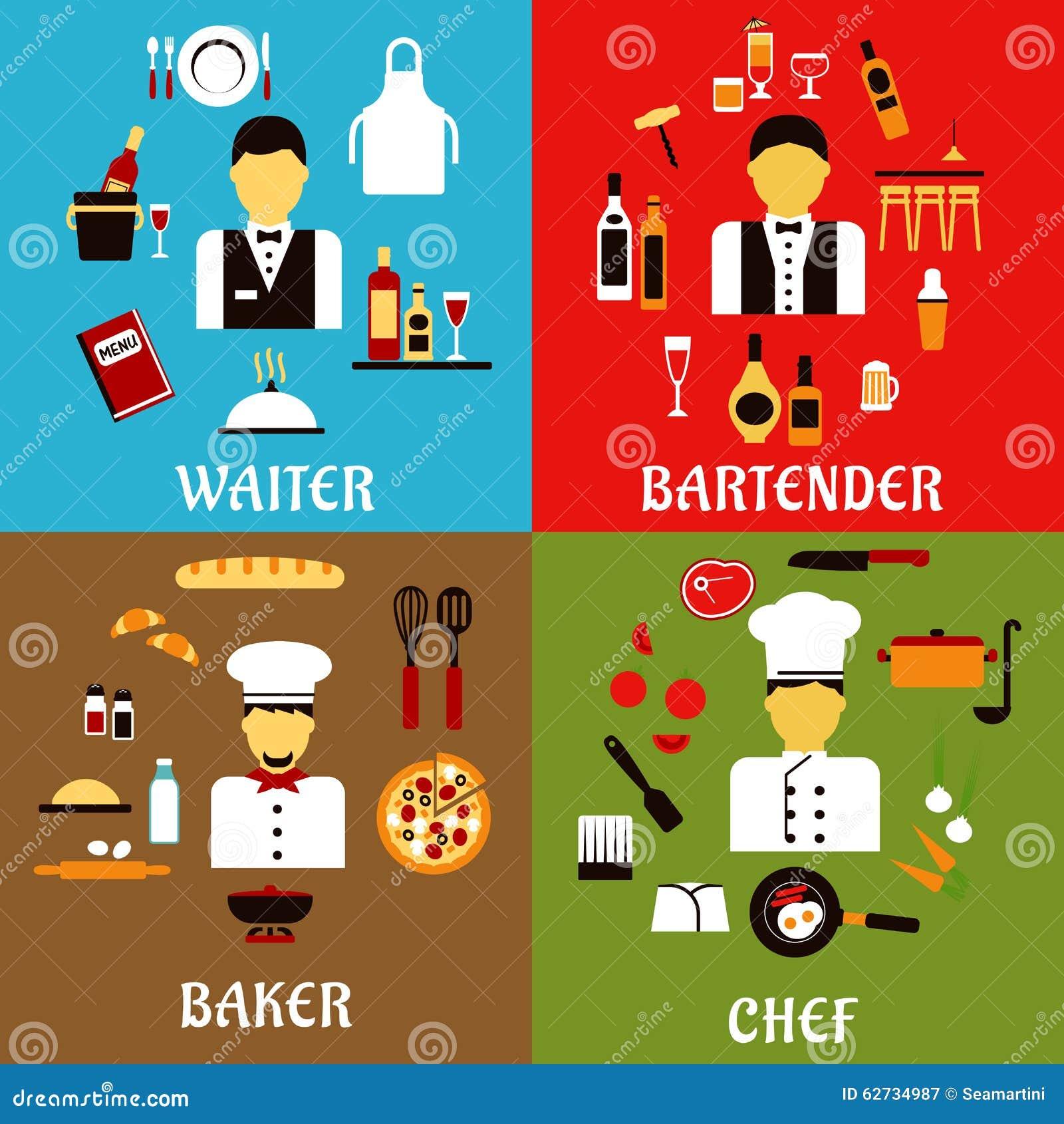 Professions de chef, de boulanger, de serveur et de barman