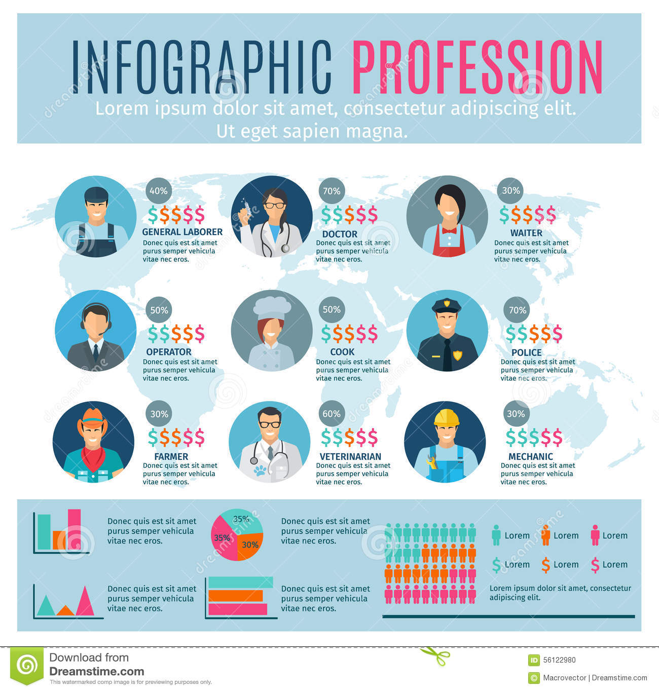 Professions infographics set with charts and world map on background ...
