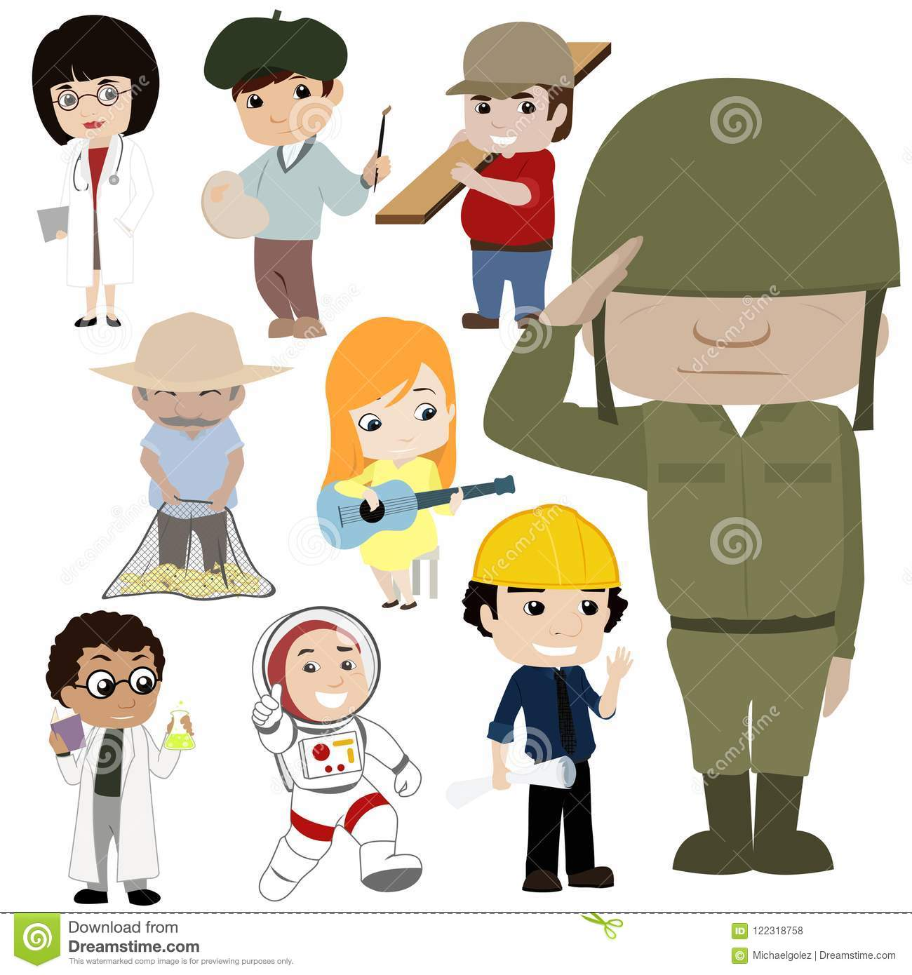 Professions And Jobs Cartoon Collection Stock Illustration Illustration Of Professions Collection 122318758