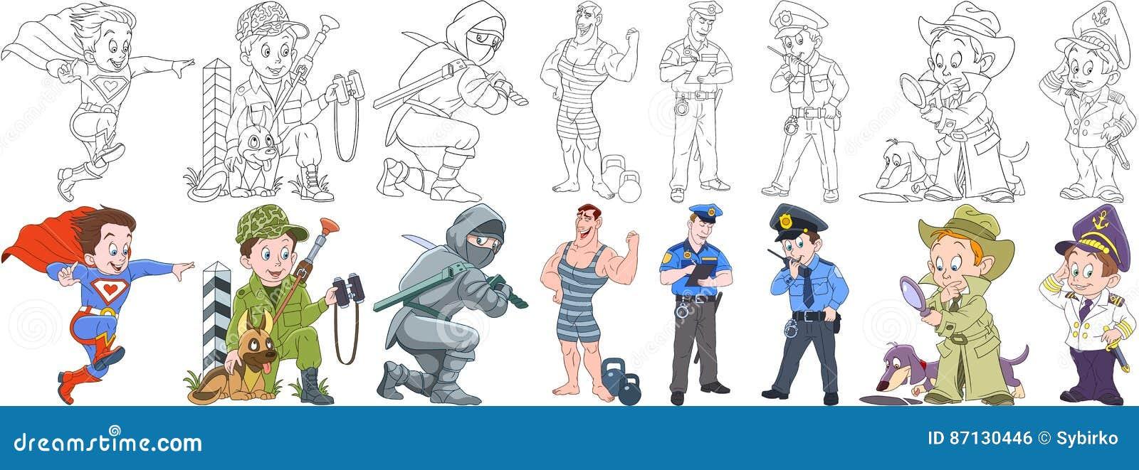 Coloriage Chien Militaire.Professions Militaires De Bande Dessinee Reglees Illustration De