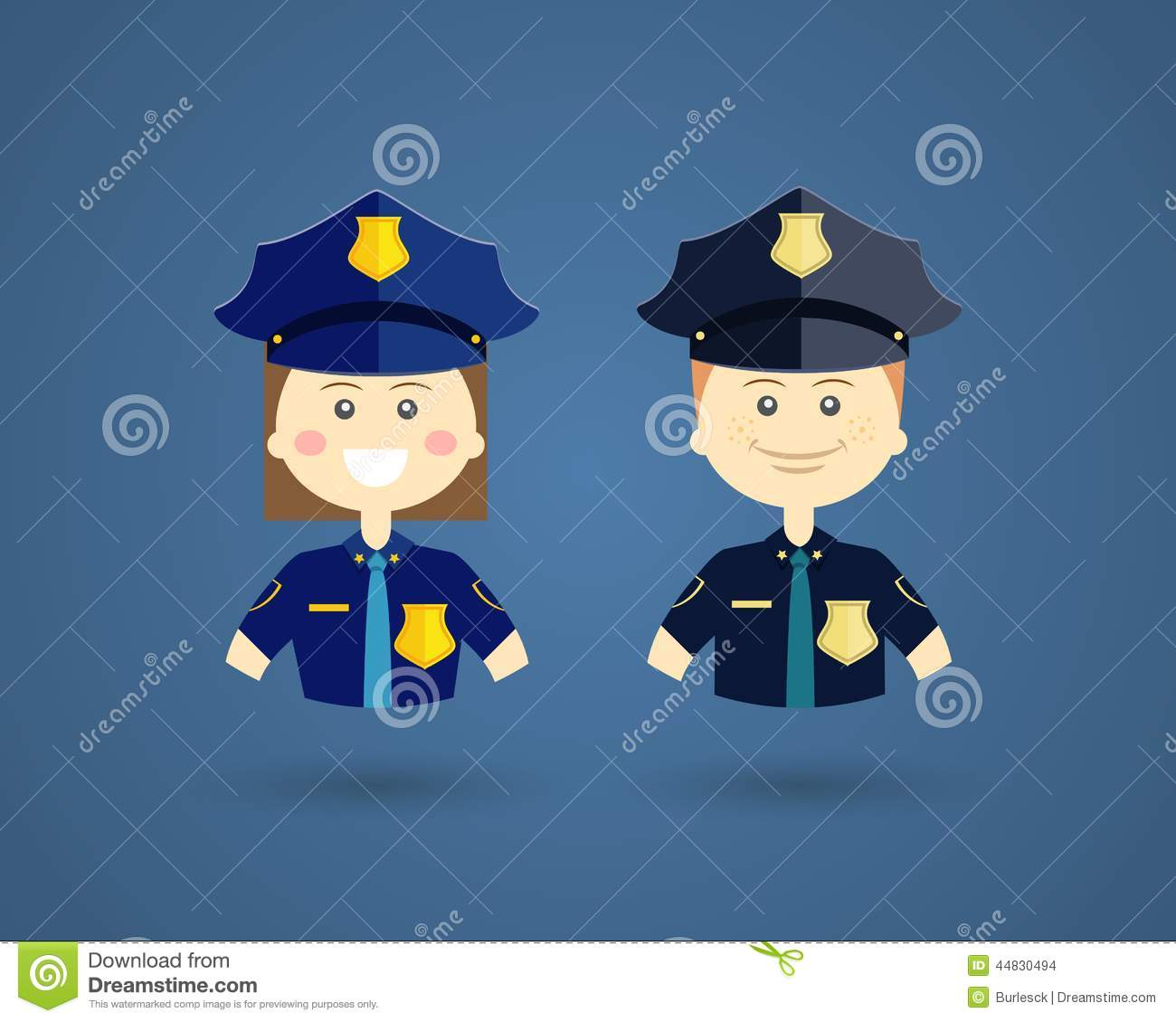 Professions Police Officers Stock Vector Image 44830494