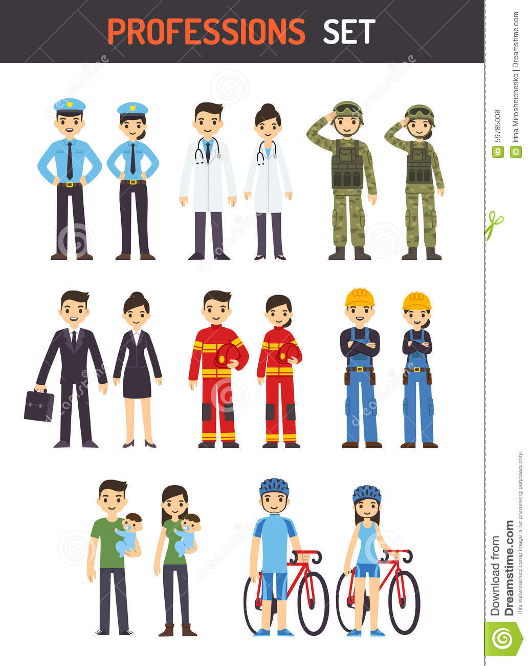 Professions Stock Vector Image 59785008