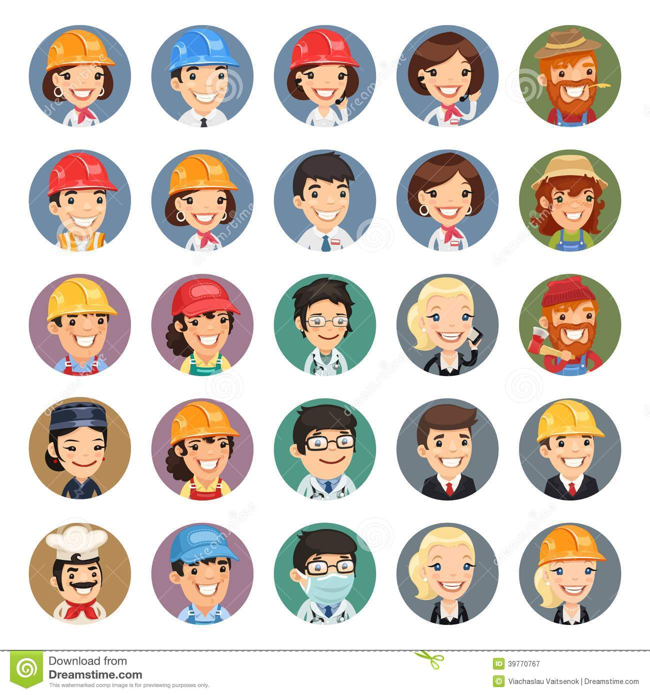 Professions Vector Characters Icons Set1 1 Stock Vector