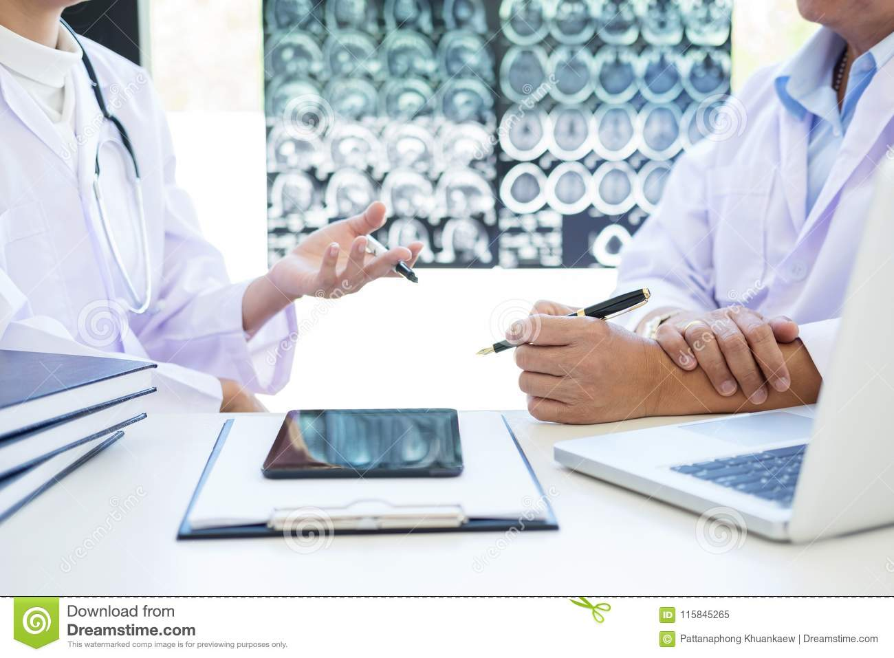 Professor Doctor discussion a method with patient treatment, res