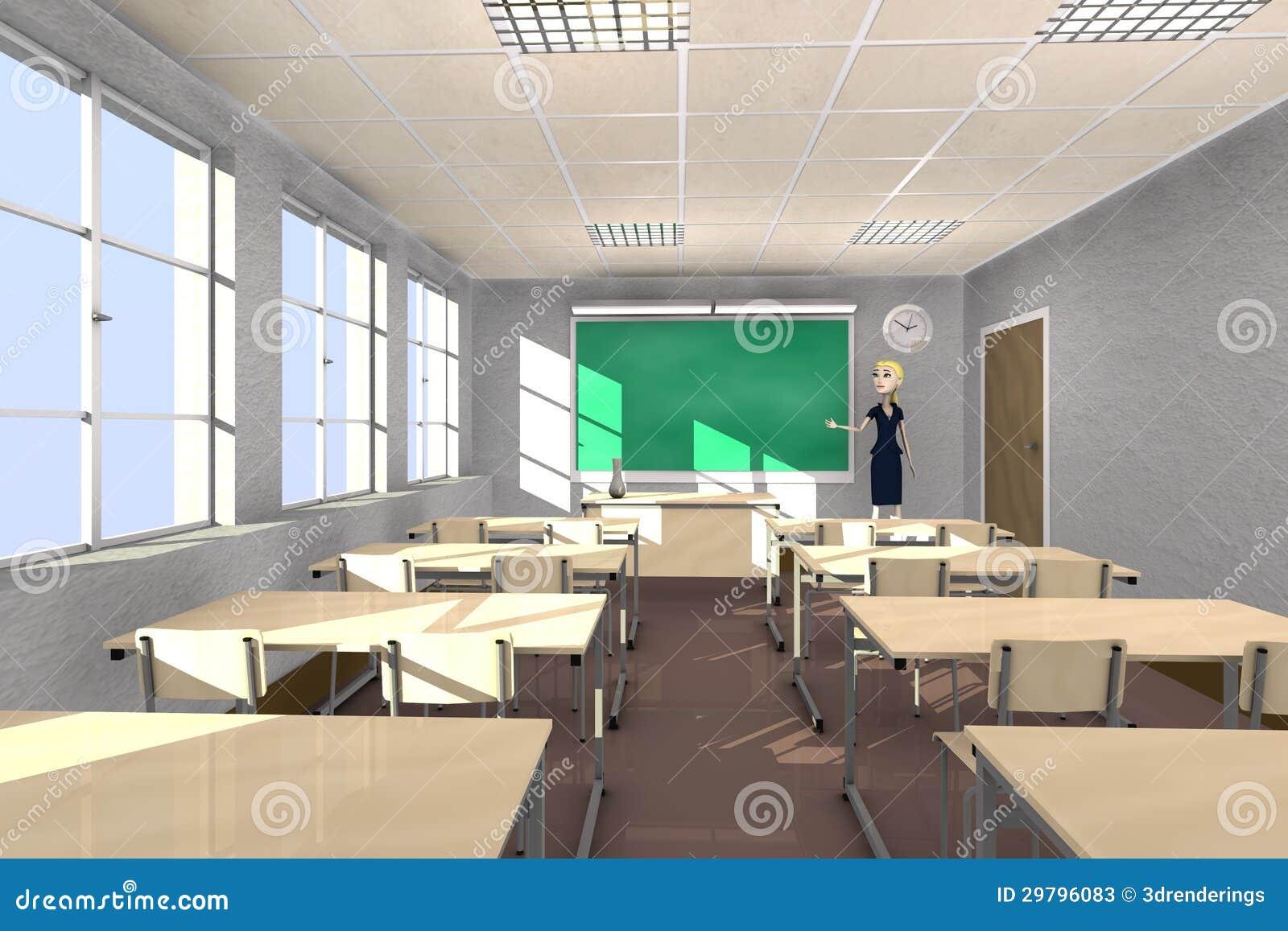 Professor Dos Desenhos Animados Na Sala De Aula Fotos de Stock ...