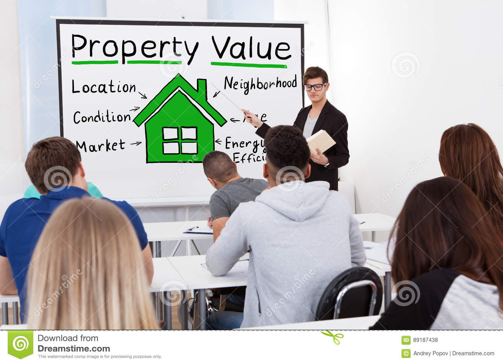 Professor masculino Teaching Property Value aos estudantes