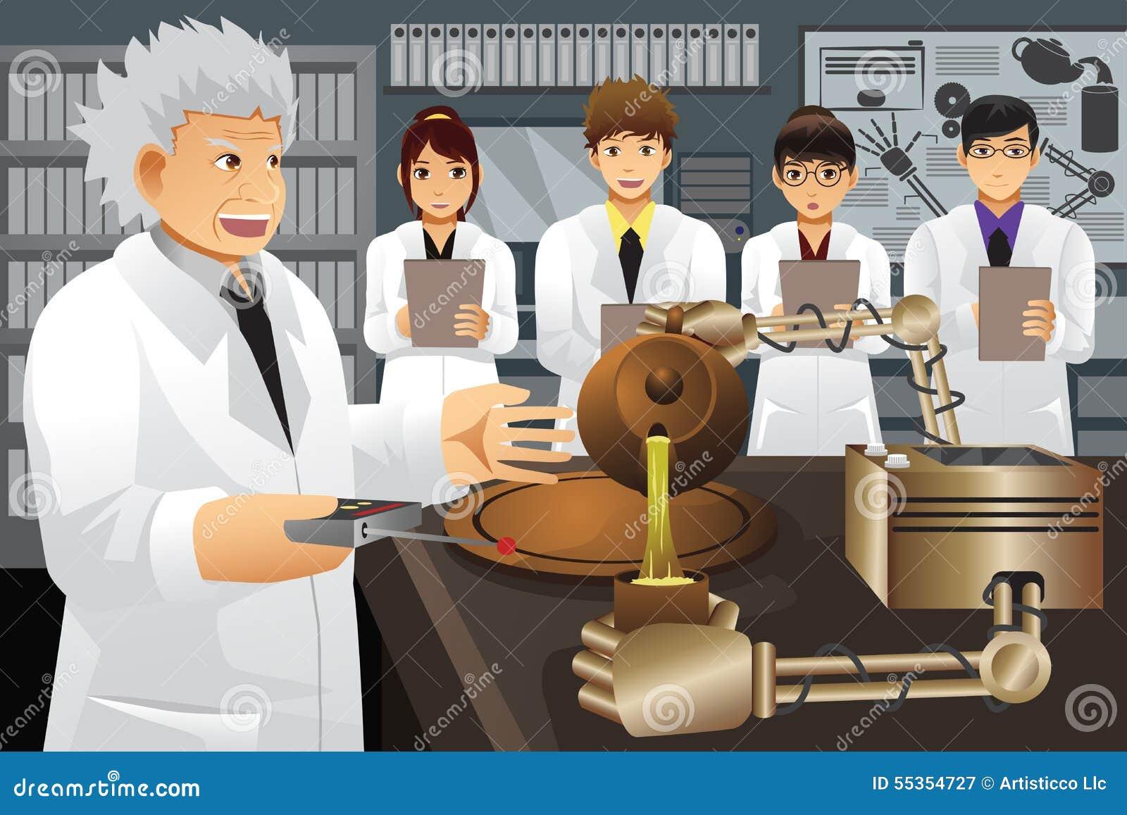 Professor Presenting His Experiment Uitvinding