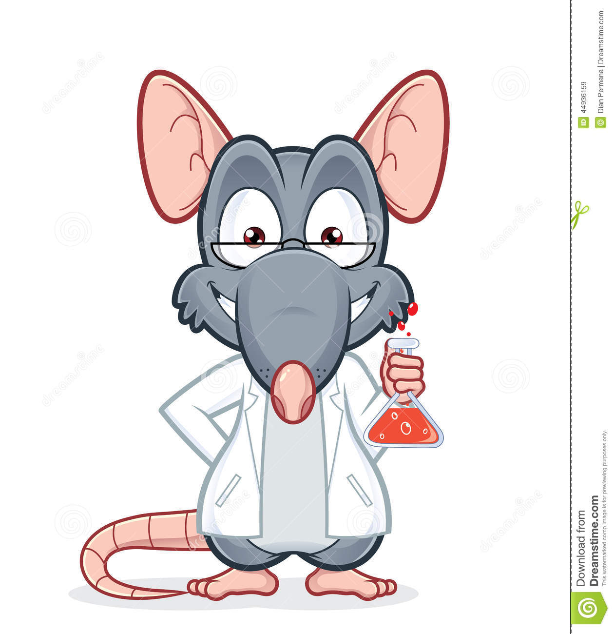 Vector clipart picture of a professor rat.