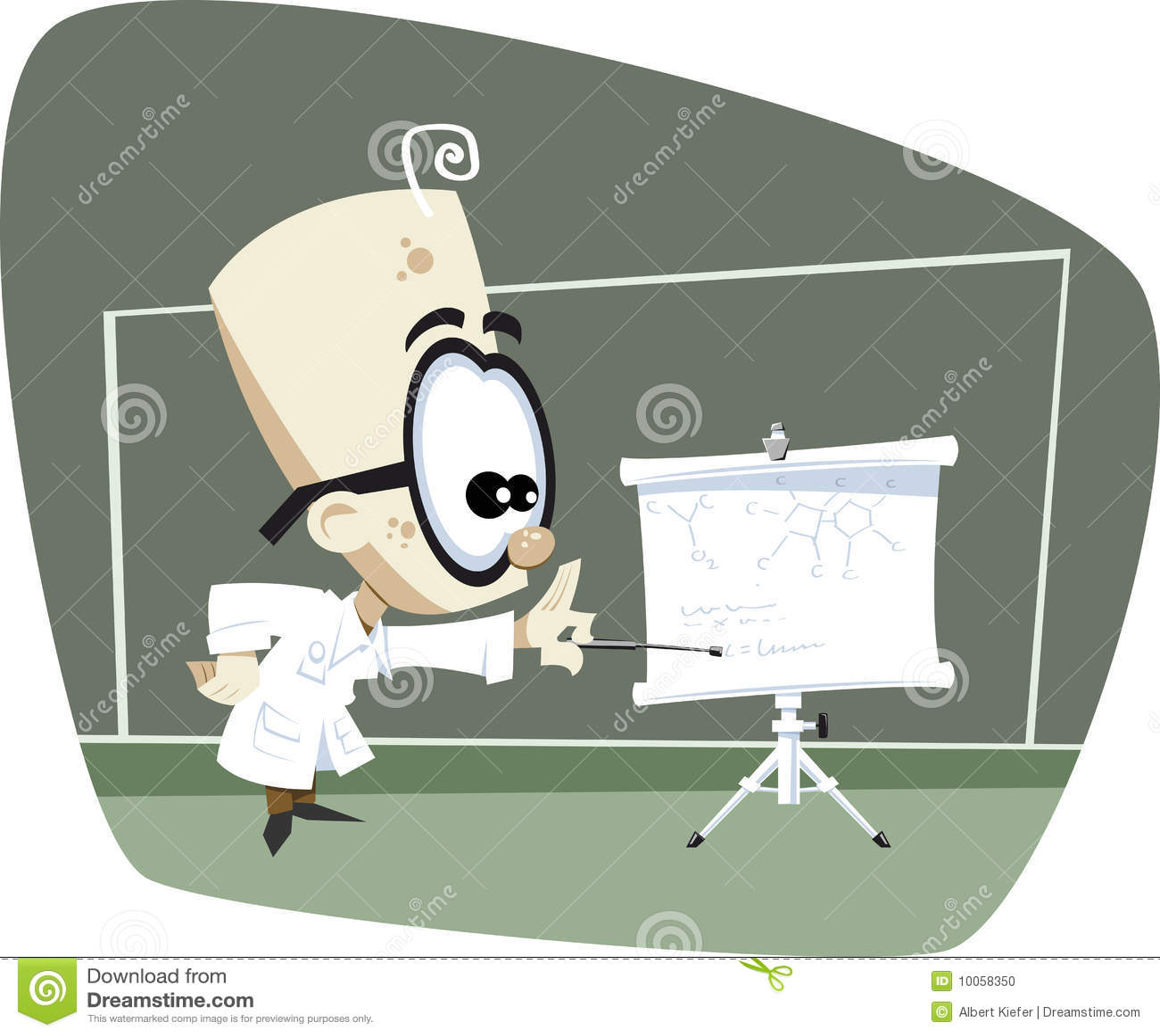 Professor retro da ciência dos desenhos animados