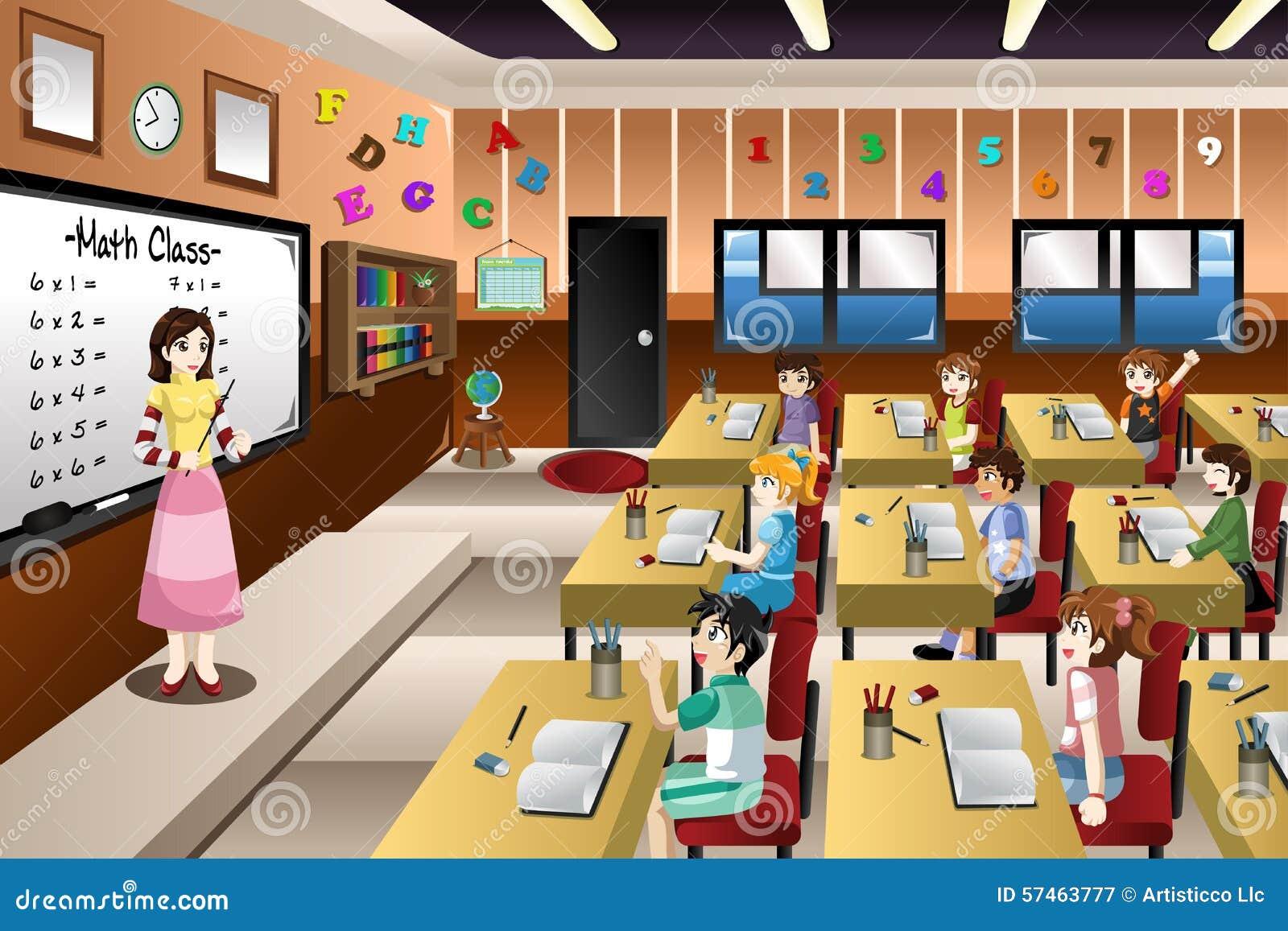 Professor Teaching Math Na Sala De Aula Ilustra O Do Vetor  -> Imagens De Sala De Aula
