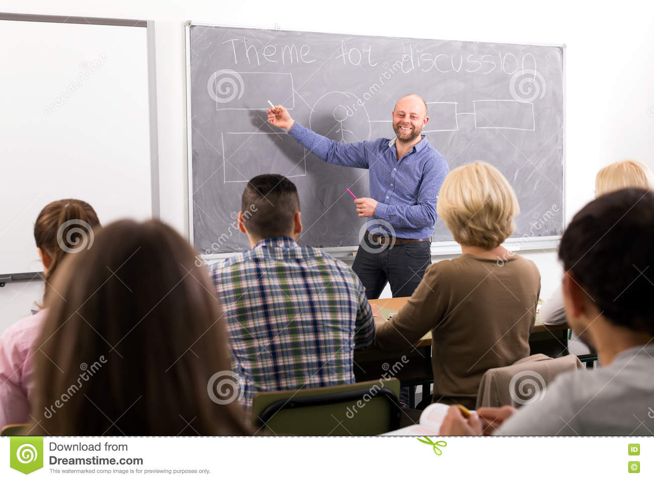 Professor Teaching People At Courses Stock Image Image