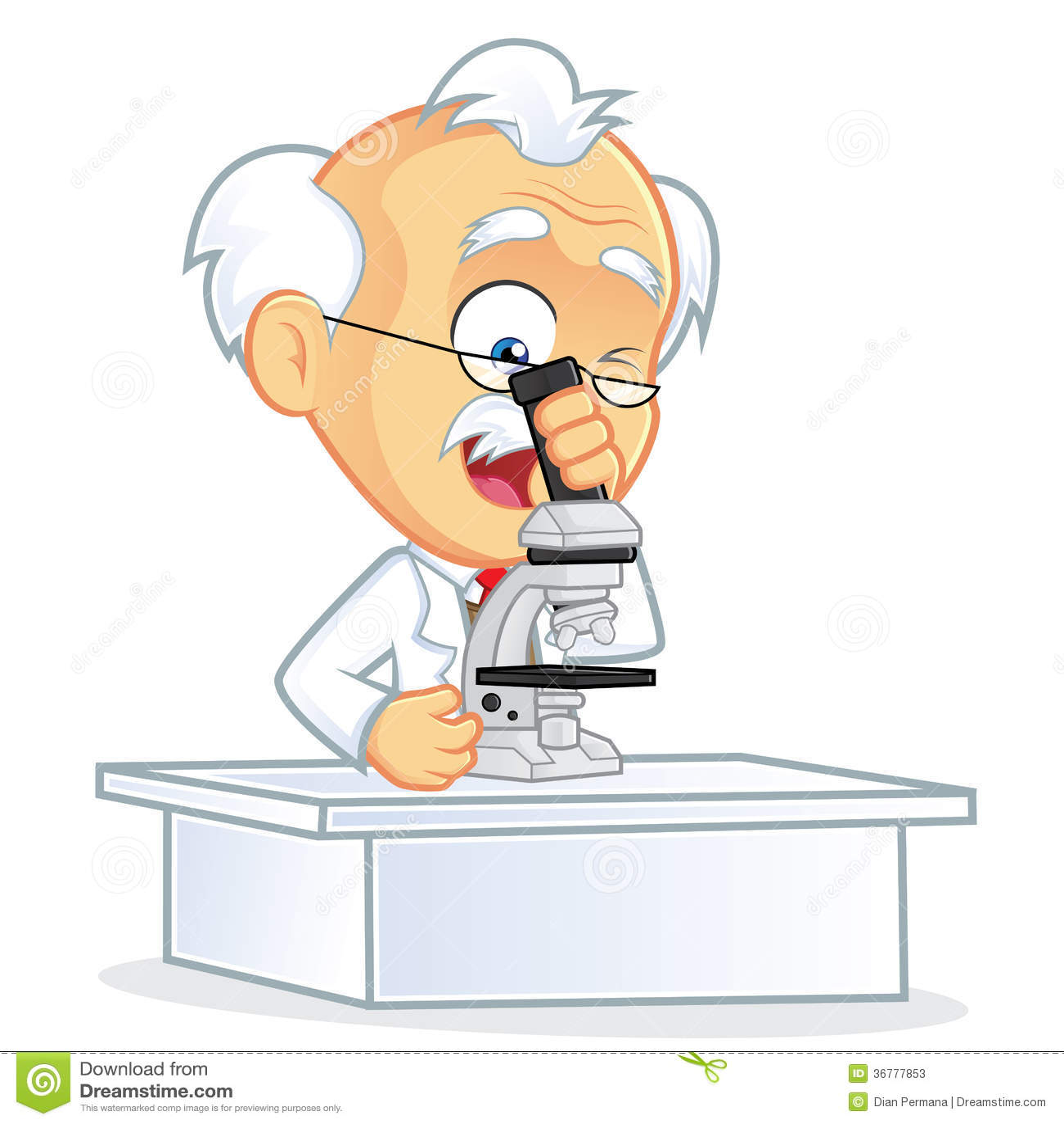 Professor using a microscope stock vector illustration