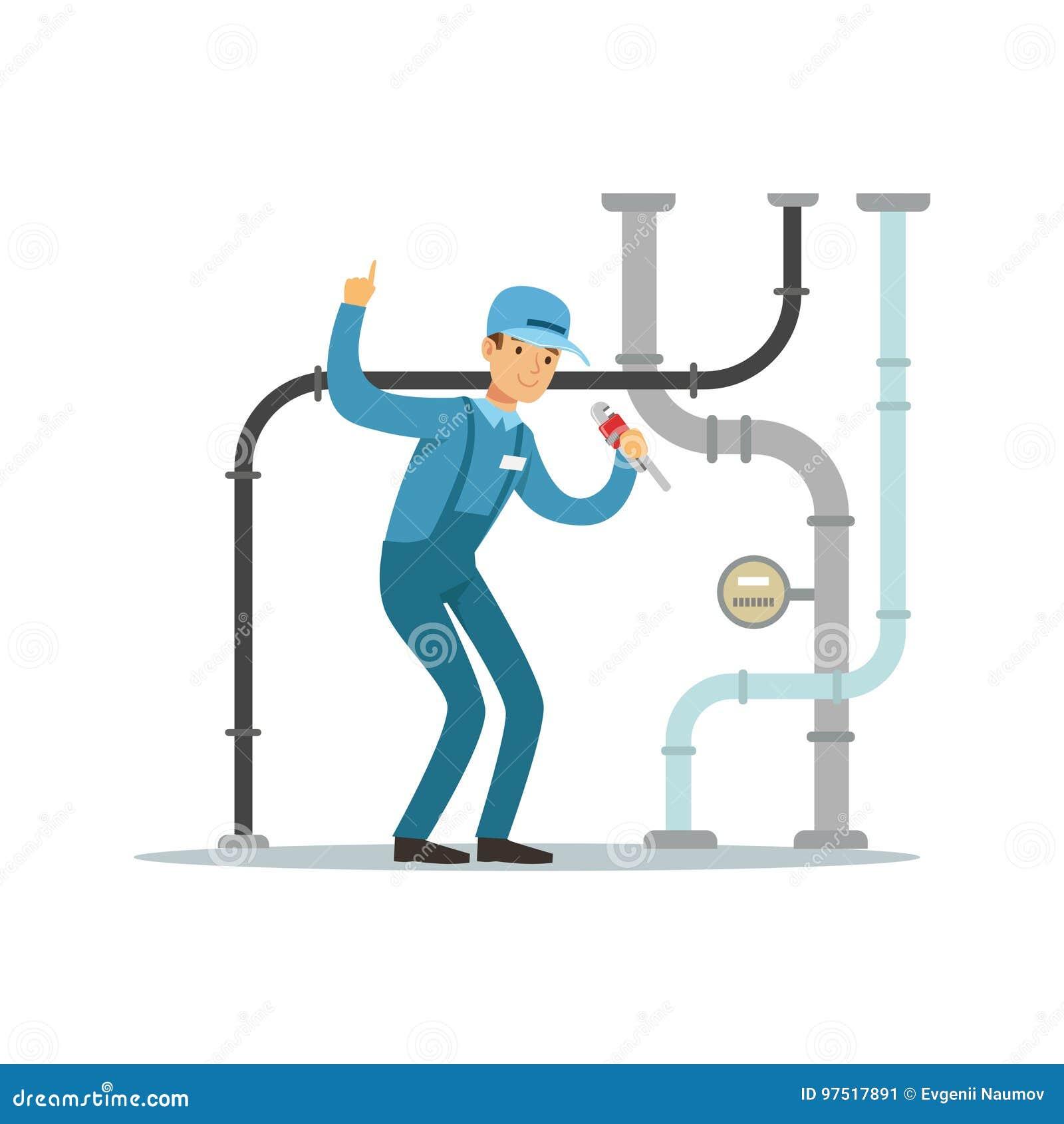 Proffesional水管工人字符修理和固定的水管,测量深度工作传染媒介例证