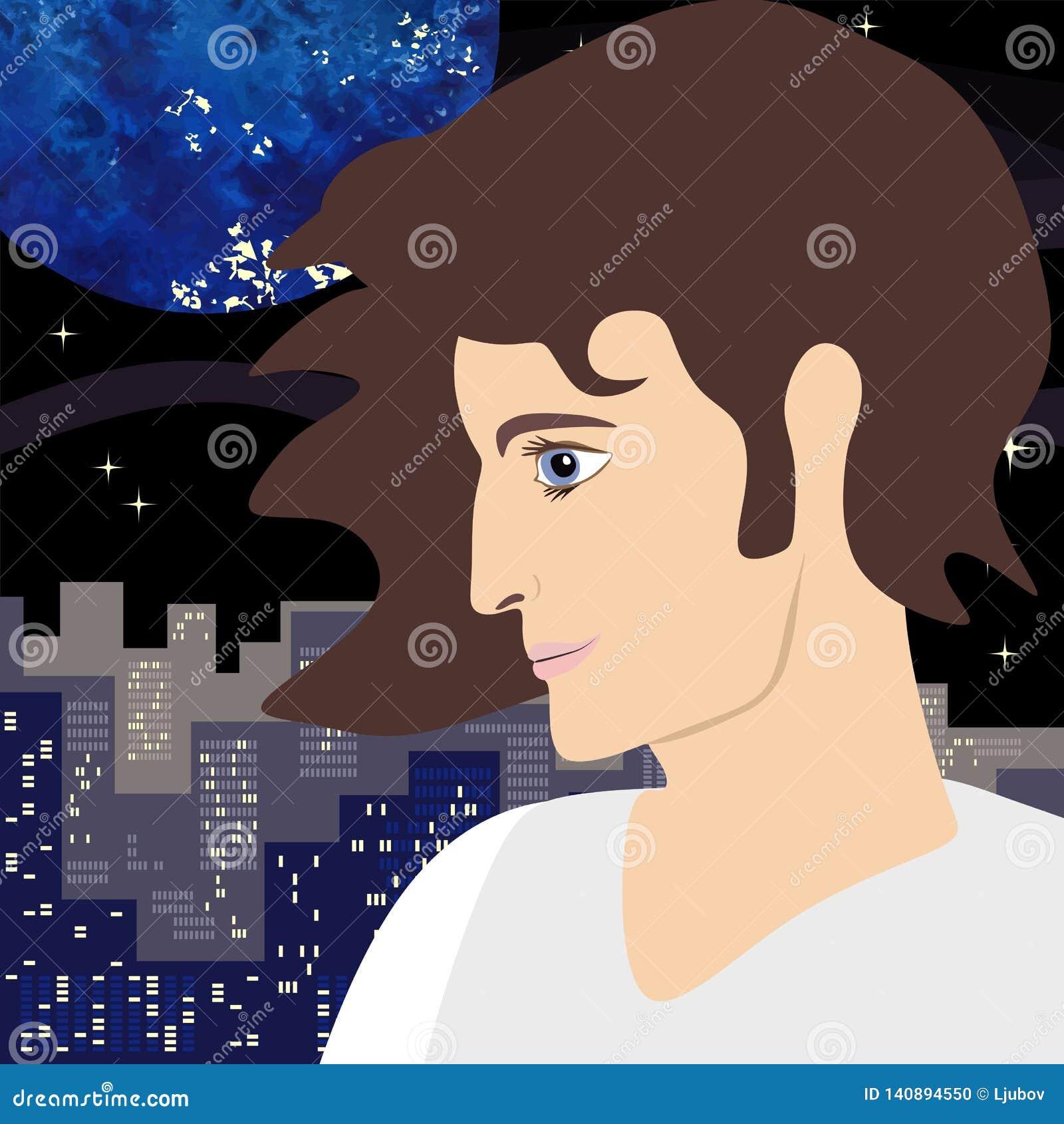 Profiel van de jonge mens met een expressieve blik op de achtergrond van grote stad en nachthemel met planeten en sterren