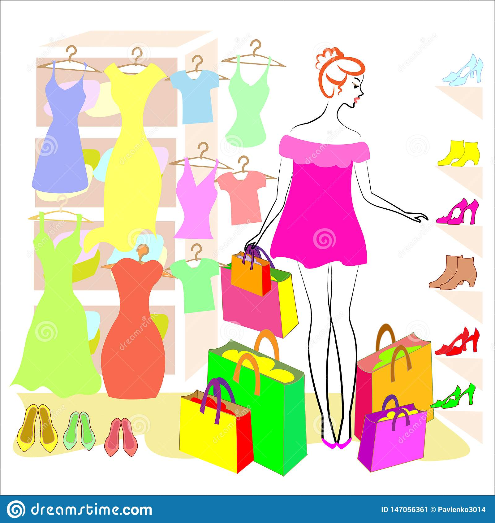 Profiel van een zoete dame Het meisje is bezig geweest met het winkelen In de opslag koopt hij kleren en schoenen, kleding, T-shi