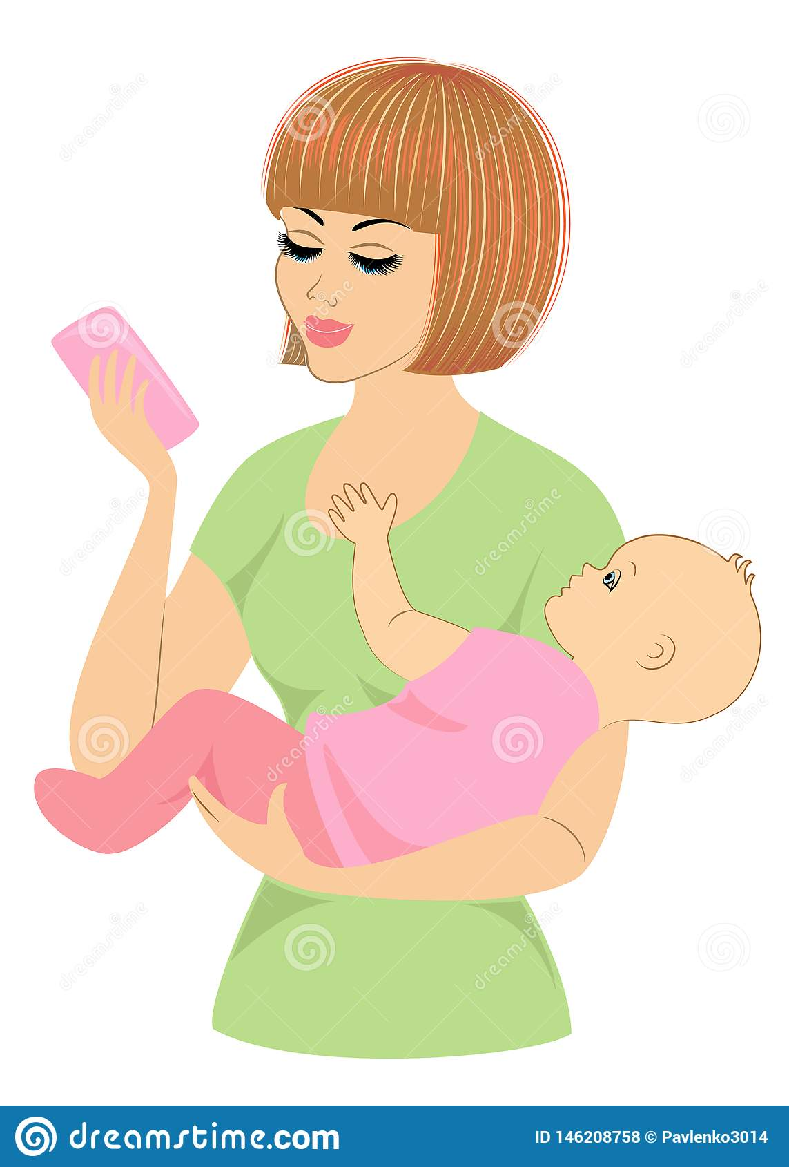 Profiel van een zoete dame Silhouet van het meisje, houdt zij de baby in haar wapens Een jonge en mooie vrouw Gelukkig moederscha