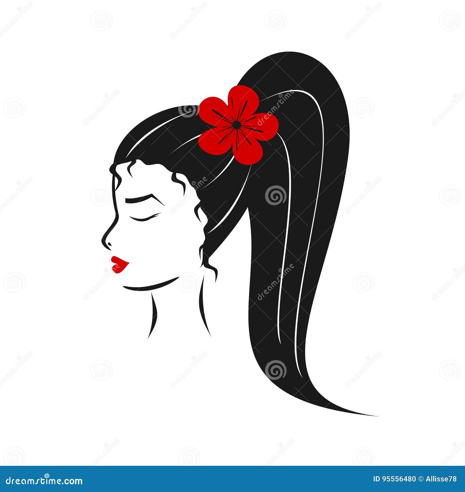 Profil élégant Rouge Blanc De Fille De Noir Mignon De